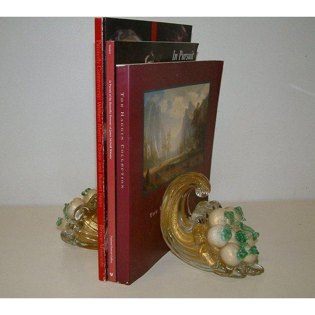 Mid-Century Modern Circa 1940 Italian Murano Glass Cornucopia Bookends - A Pair For Sale - Image 3 of 6