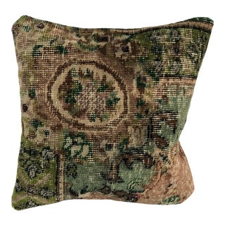 Turkish Oushak Vintage Rug Pillow For Sale