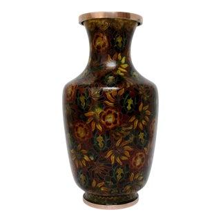 Bronze Floral Cloisonne Vase For Sale