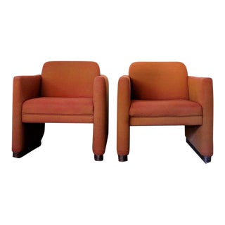 1970s Mid Century Modern Walnut Club Chairs - a Pair