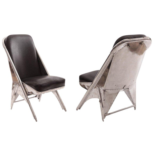 1940s Mid-Century Modern Riveted Aluminum and Leather Cessna Chairs - a Pair For Sale