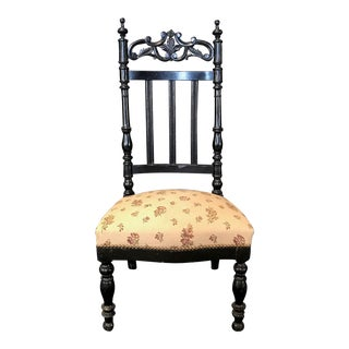 Early 20th Century French Carved Ebony Side, Occasional Single Boudoir Chair For Sale