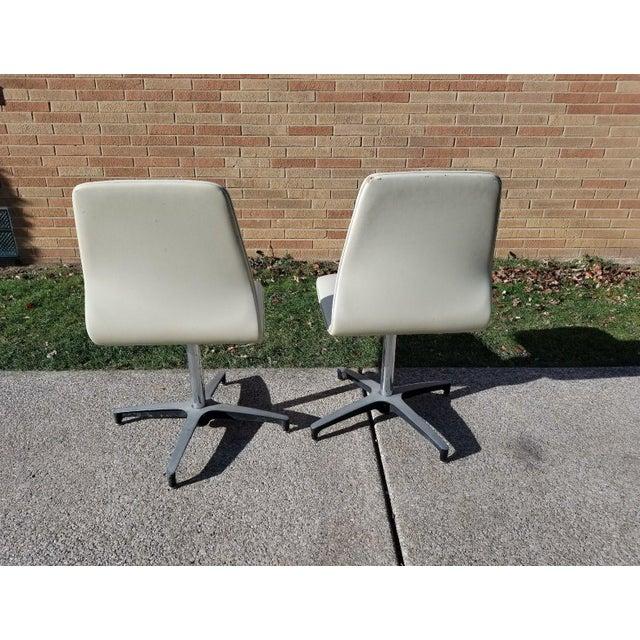 Chromcraft Mid-Century Modern Chromcraft Vinyl Swivel Chairs - a Pair For Sale - Image 4 of 11