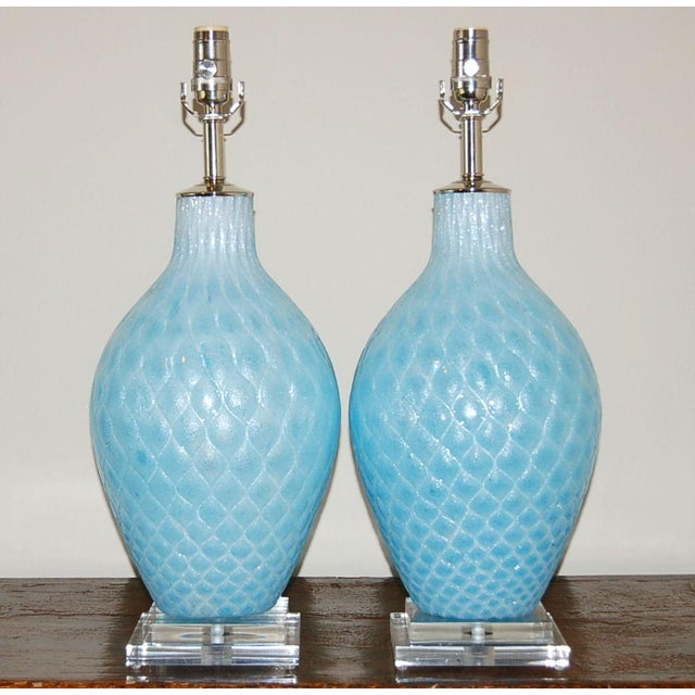 Diamond patterned vintage Venetian glass table lamps by Galliano Ferro in AQUAMARINE BLUE, circa 1950's. The glass is...