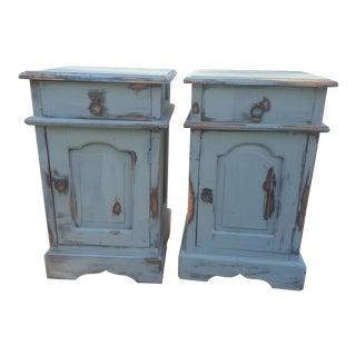 Vintage Oriental Blue Nightstands - a Pair