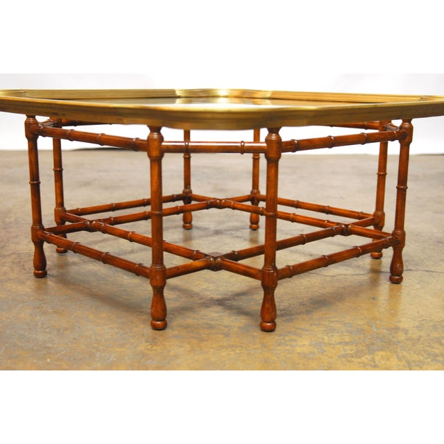 Baker Bamboo and Brass Tray Top Coffee Table - Image 5 of 10