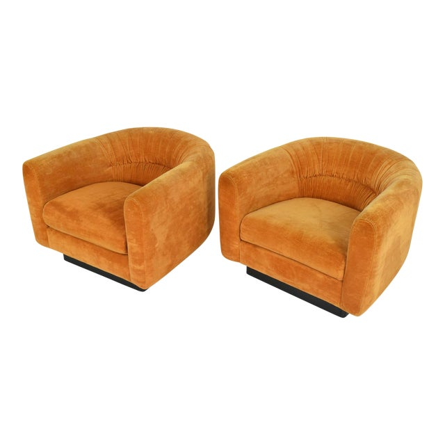 Pair of Milo Baughman Style Lounge Chairs by Metropolitan Furniture - Image 1 of 9