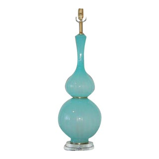 Vintage Murano Aqua Opaline Glass Lamp For Sale