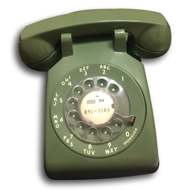 Mid-Century Modern Green Rotary Dial Phone - Image 4 of 5