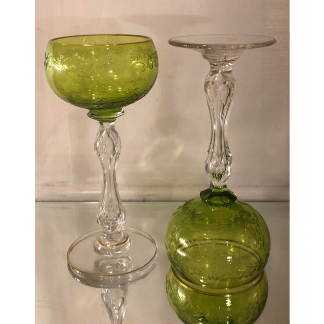 Pair of Antique St Louis Chartreuse Crystal Hock Wine Stems