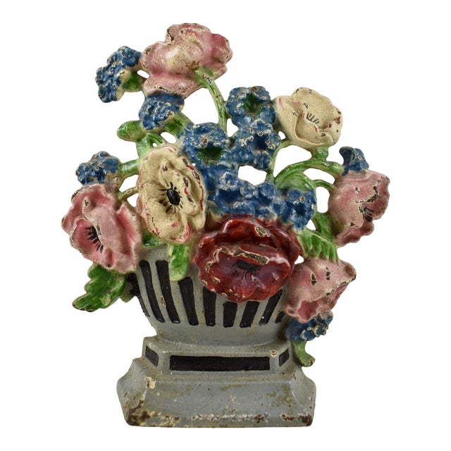 1930s Hubley Cast Iron Poppies in an Urn Doorstop For Sale