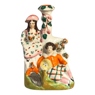 Antique Staffordshire Bud Vase Figurine For Sale