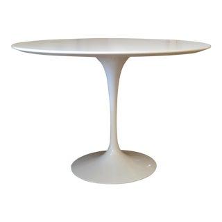 Original Eero Saarinen Round Antique White Laminated Tulip Dining Table Knoll For Sale