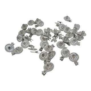 36 Silver Christmas Candle Clips