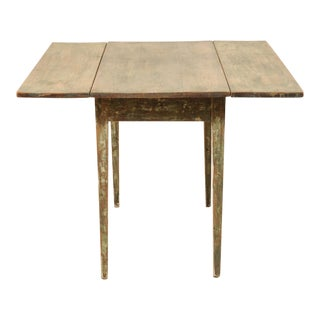 19th Century Swedish Painted Wood Drop-Leaf Table With Original Paint For Sale