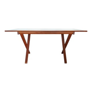 1960s Danish Modern Teak Adjustable Height Desk / Dining Table For Sale