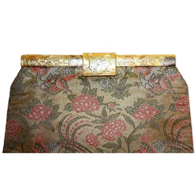 French 1930's French Bird Motif Brocade Purse With Matching Frame and Fabric For Sale - Image 3 of 6