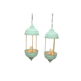 Vintage Mid-Century Large Hanging Pendent Lights For Sale