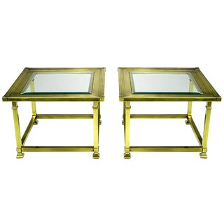 Pair of Classic Brass Picture-Frame End Tables by Mastercraft For Sale