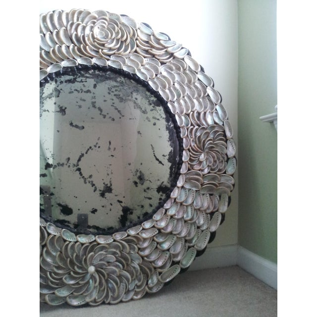 2010s Abalones Shell Mirror With Antique Glass For Sale - Image 5 of 12
