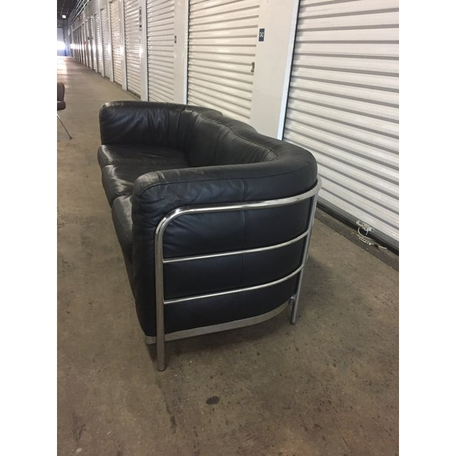 B&b Italia Black Leather & Chrome Sofa For Sale In Chicago - Image 6 of 13