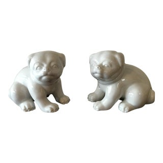 1980s Chinese Fitz and Floyd White Porcelain Dog Figures - a Pair