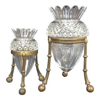 19th Century Art Nouveau Brilliant Cut Crystal Acorn Vases on Ormolu Mounts - a Pair