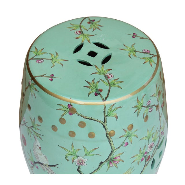 2010s Handmade Pastel Blue Green Porcelain Bird Flower Round Stool Ottoman For Sale - Image 5 of 7