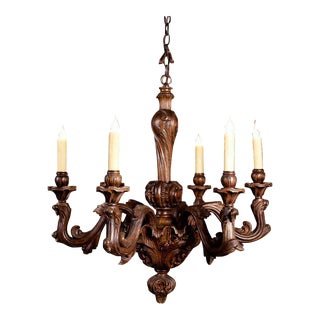 Rococo Carved Wood Chandelier For Sale