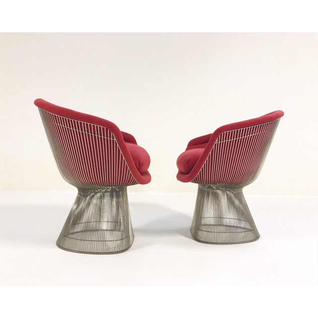 Warren Platner for Knoll Lounge Chairs Restored in Loro Piana Red Cashmere - Pair For Sale - Image 9 of 13