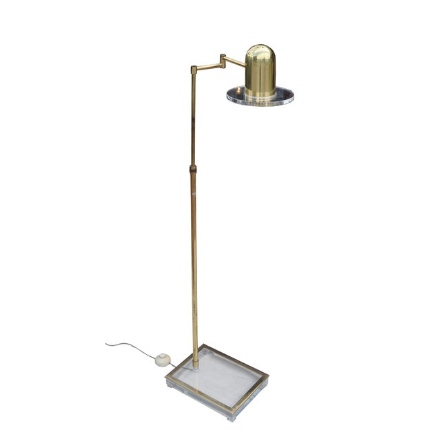 Lucite and Brass Reading Floor Lamp - Image 2 of 3