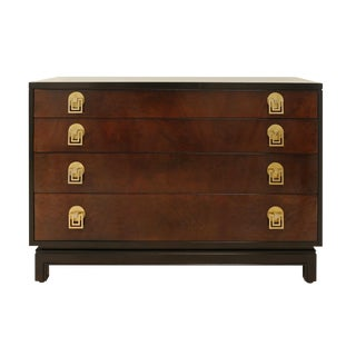 Exquisite Mahogany and Bookmatch Bird's-Eye Maple Chest by Renzo Rutili For Sale