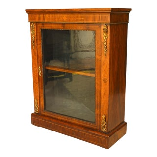 French Victorian Walnut Display Cabinet For Sale