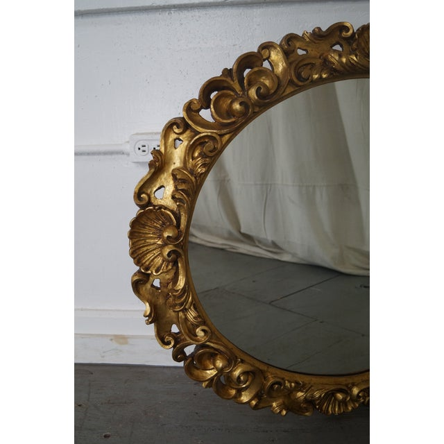 Antique Italian Rococo Style Giltwood Carved Oval Wall Mirror - Image 5 of 10
