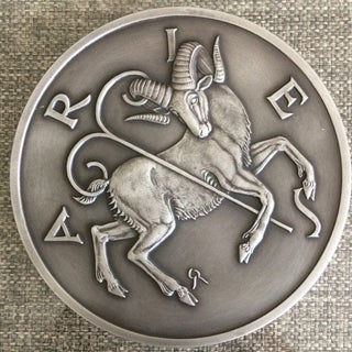 Vintage Large Gilroy Roberts .999 Pure Silver Aries Wall Art on Lucite Wall Plaque Preview