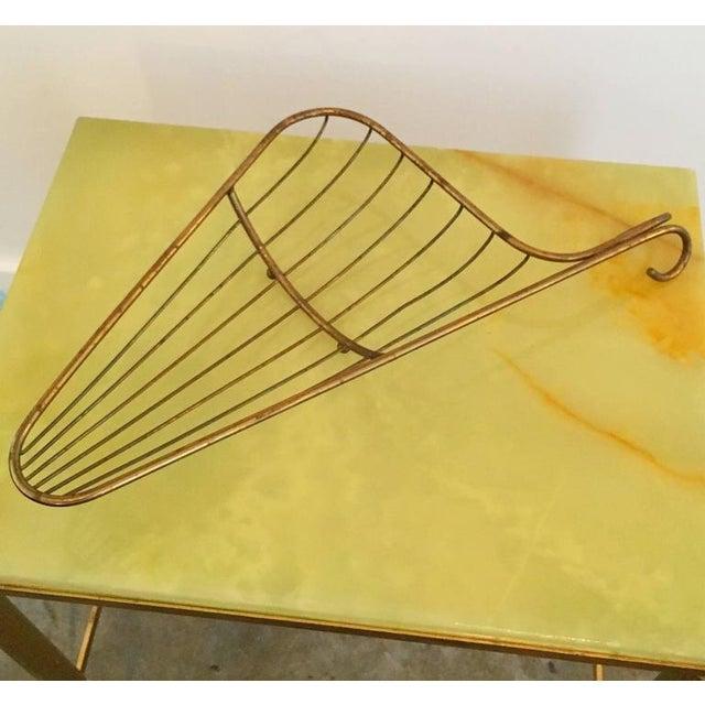 Mid Century Modern Aldo Tura Bronze Bread / Fruit Decorative Table Basket / Tray (Epergnes) - Image 4 of 11
