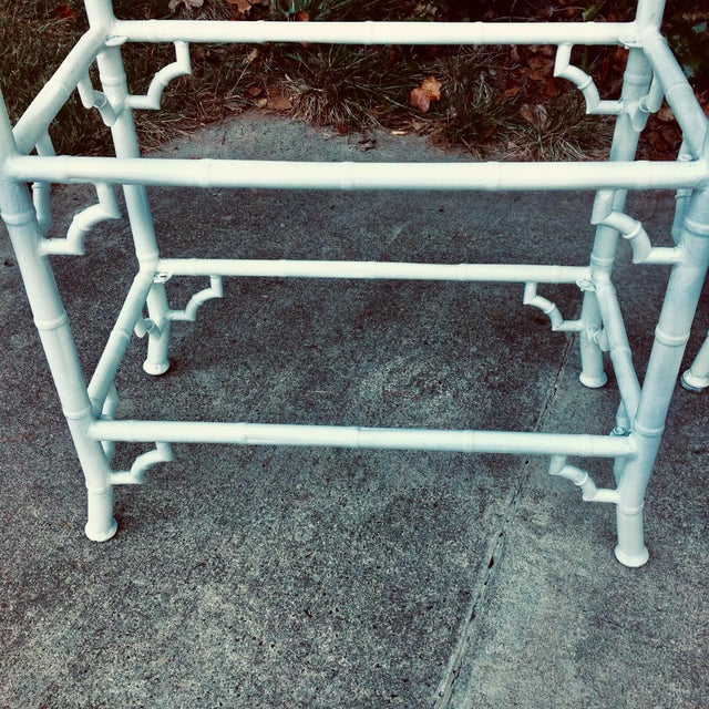 Very rare vintage pair of Meadowcraft faux bamboo painted aluminum etageres. Original white painted finish is in very good...