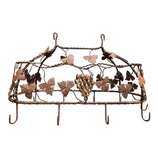 1970s Custom Crafted Enchanting Wrought Iron Grape Vine Pot Rack For Sale