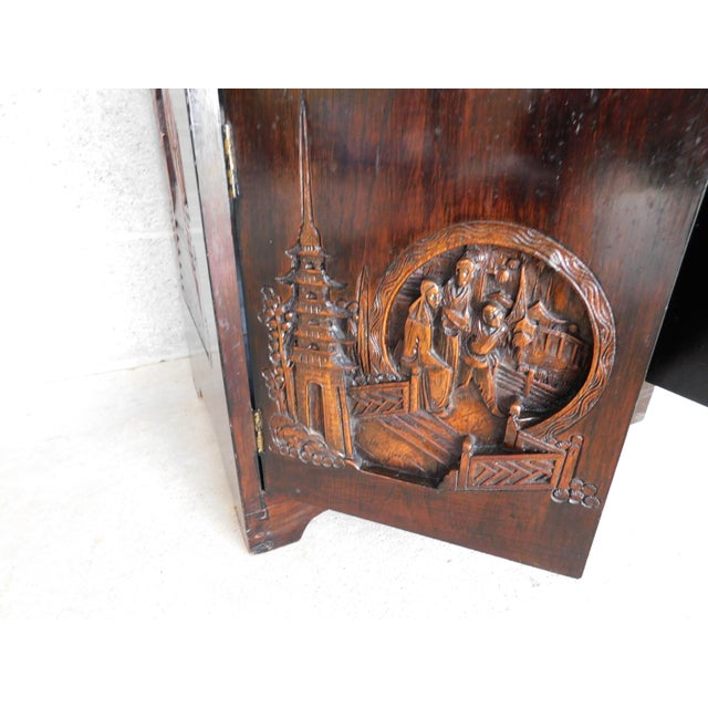 Metal Vintage George Zee Asian Carved Silver Chest For Sale - Image 7 of 13