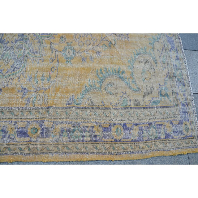 Oushak Area Bohemian Turkish Wool Rug - 6′4″ × 9′5″ - Image 6 of 6