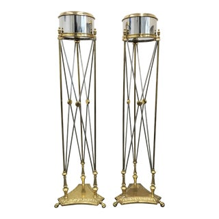 Maison Jansen Style Steel and Brass Jardinière / Planter Stands - A Pair For Sale
