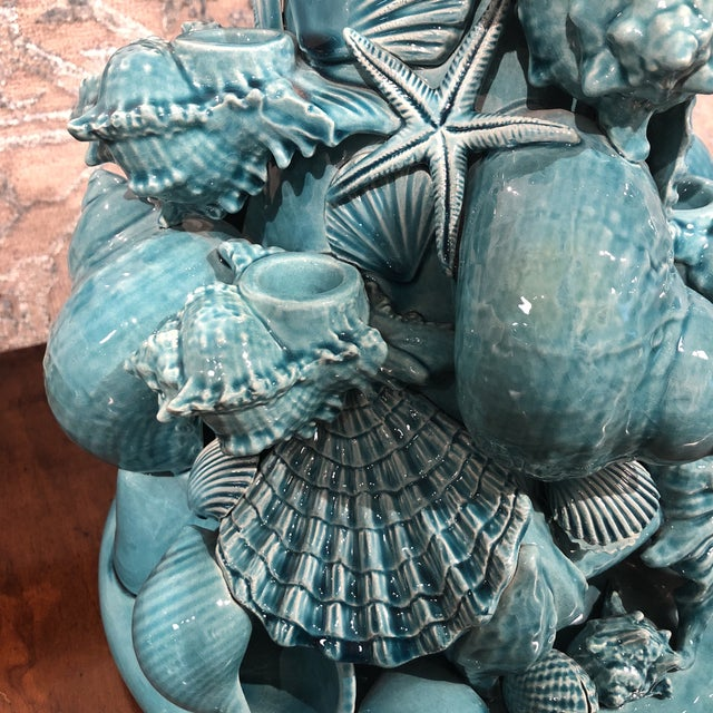 Italian Turquoise Ceramic Centerpiece For Sale - Image 10 of 12