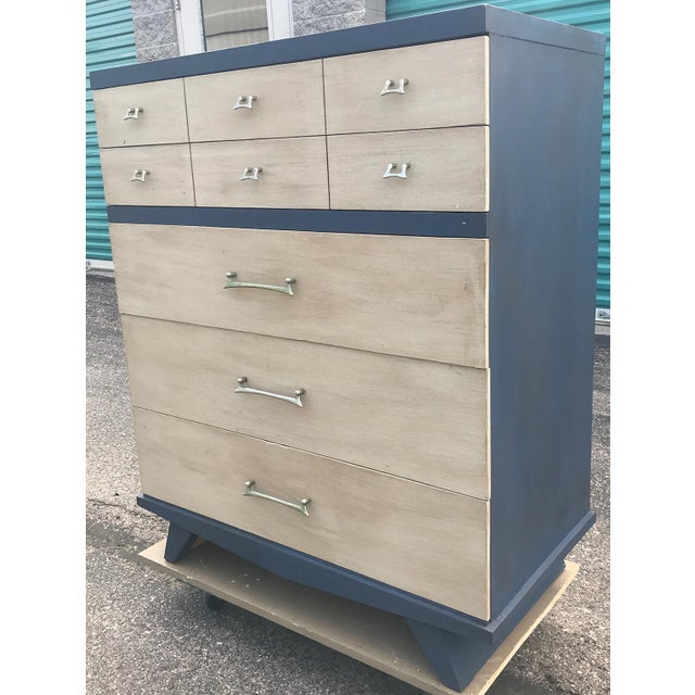 Vintage Mid Century Modern HighBoy Dresser For Sale - Image 4 of 10