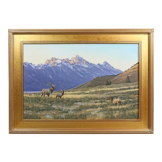 Landscape With Elks Oil Painting by William G. Smith For Sale