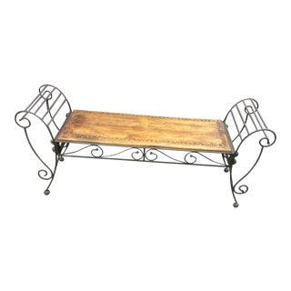 1980s Vintage Rustic Metal & Wood Bench For Sale