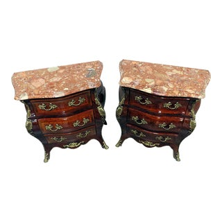 Empire Style Marble Top Bombe End Tables - a Pair For Sale
