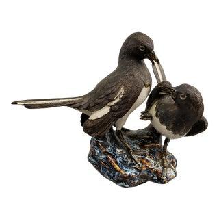 Mid 20th Century Japanese Hirado Porcelain Eurasian Magpies on Rock Figurine For Sale