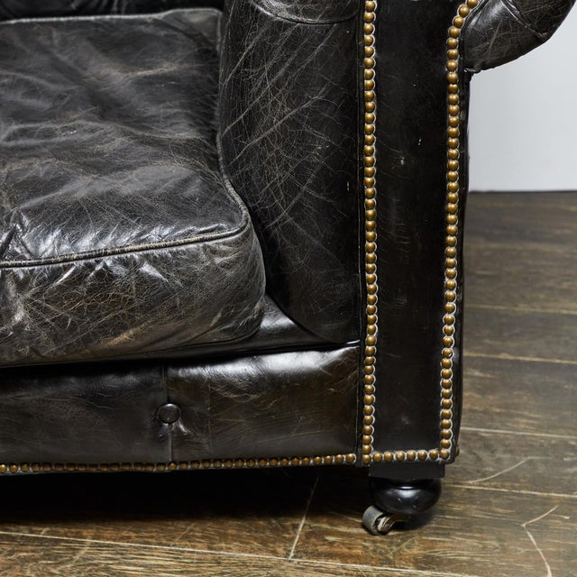 Chesterfield Oversized Tufted Armchair in Original Black Leather For Sale - Image 9 of 9