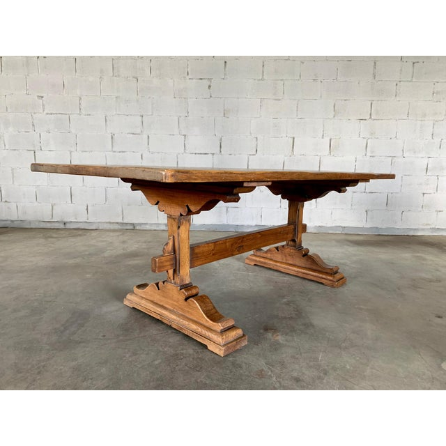 Antique French Farmhouse Solid Oak Wood Trestle Dining Table 19th C. For Sale - Image 4 of 13