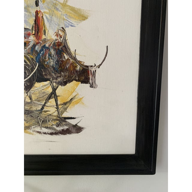 "Mid-Century Style ""Steer"" Painting, Framed For Sale - Image 4 of 13"